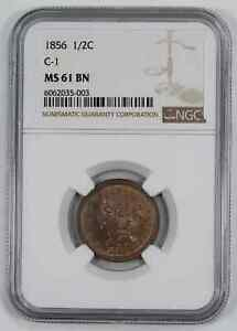1856 BRAIDED HAIR HALF CENT 1/2C NGC MS 61 BN BROWN MINT STATE UNC C-1 (003)