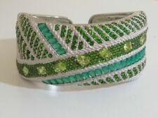 Judith Ripka Sterling Multi GEMSTONE Green Bold Cuff Bracelet Average