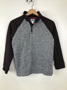 Old Navy Boys Size L 10-12 Gray Red Heathered 1/2 Zip Long Sleeve Sweater