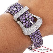 Estate White Purple Stone Sterling Silver Belt Buckle Bracelet 50.4 Grams NR
