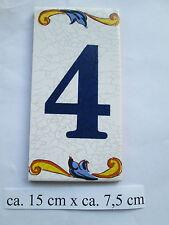 """Hausnummer Keramik  Nr. 4   """" Pepe """"  15 cm x 7,5 cm (made in Spain )"""