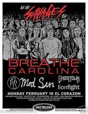 "BREATHE CAROLINA & MOD SUN ""WE ARE SAVAGES TOUR"" 2014 SEATTLE CONCERT POSTER"