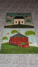 Warren Kimble 2 Print Lot Round Red Barn, Schoolhouse