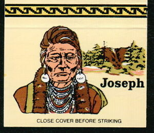 JOSEPH Pacific NW Nez Perce Indian Chief Vtg Native American OH Match Book Cover