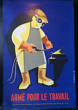 Original Vintage Französische Sicherheit Poster Arme pour travail Le guillerm 69 Paris