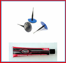 TYRE PUNCTURE REPAIR WIRED 3MM PLUG PATCH MOTORCYCLE CAR  X 5 + GLUE