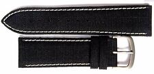 Authentic Locman 22mm BLACK Canvas/Leather Watch Band/Strap & Buckle. NEW