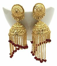 Indian Bollywood Gold Plated Dangle Jhumka Earrings Traditional Jewellery Design