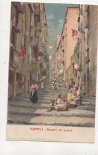 Napoli Gradini S Lucia Italy Vintage U/B Postcard De Simone 477b