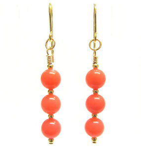 Pink Coral Earrings in 9ct Gold, Vintage Style with Semi-precious Gemstone Beads