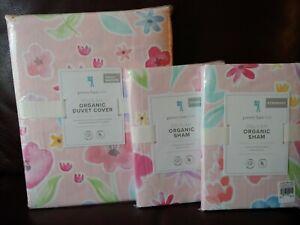3pc Pottery barn kids Delilah Floral Full Queen Duvet Standard Shams Pink Flower