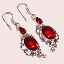 "Gorgeous ! Faceted Garnet Quartz Silver Plated Handmade Earring 2""(e-96)"