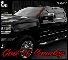 God & Country Side Banner Windshield Sticker Decal Window Proud American USA
