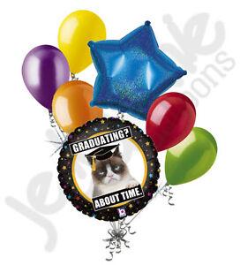 7pc Grumpy Cat Graduation Balloon Bouquet Congratulations Congrats Grad Colorful