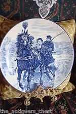 Flow-Blue decorative wall platter,Morning Ride, gorgeous blue[2r]