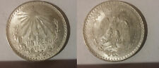 1943 Mexico Large Silver 1 peso Cap and Rays-Eagle/Snake-Nice