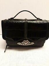 Brighton Vintage Brown Leather Top Handle Crossbody Organizer Handbag