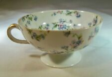 HAVILAND & CO. LIMOGES FRANCE BLUE FORGET-ME-NOT'S FOOTED TEA CUP DOUBLE MARKED!