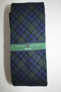 NWT TOMMY HILFIGER Men's Navy Blue Green Plaid Wool VINTAGE Skinny Neck Tie