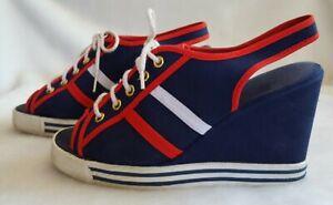 Vtg 70's 80's WILD PAIR Wedge High Heeled Sneakers 6.5 6 Shoe Festival Disco y2k