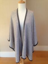 CASHMERE Fine Wool LIGHT HEATHER GRAY Open Front Poncho Cape One Size NWT
