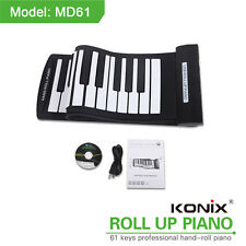 Konix 61 Key Flexible Roll-Up Piano USB MIDI Electronic Keyboard Hand Roll Piano