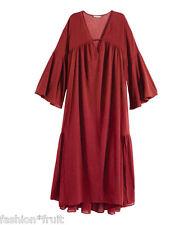 H&M Wide Cotton Burgundy Oversize Long Kaftan Tunic Boho Maxi Dress Size 10 36