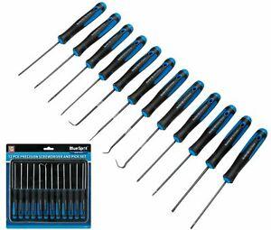 Bluespot 12pc Pick And Hook Set Plus Precision Screwdriver Torx Flat & Phillips