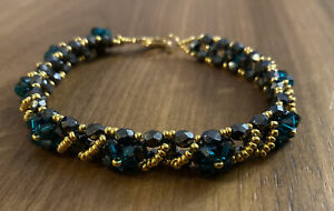 """WOVEN CRYSTAL & BEAD BRACELET * 8"""", 18k Gold Clasp, Made with Swarovski Crystals"""