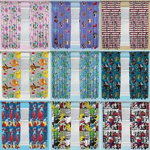 "Official Licensed Character Pleated Curtains 54"" or 72"" Drop Disney Boys Girls"
