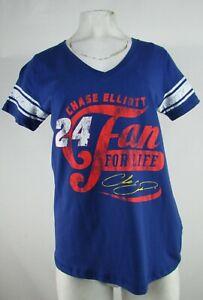 """Chase Elliott NASCAR Women's G-III Blue """"Fan for Life"""" V-Neck Shirt"""