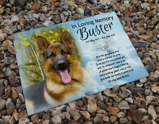 German Shepherd dog personalised memory heastone tile, berevement gravestone