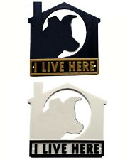 Border Collie I Live Here 3D Plaque - House Garden Gate Door Sign