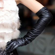 Expédié de Paris - Gants Long Longues Simili Cuir Moulant Noir Goth Mode Solide