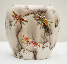 USA-Made One-of-Kind Horsehair Vase w/ Hand-Carved Dragonflies by Mary Holmes