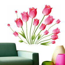 5799 | Wall Stickers Living Room Flower Pink Tulips Bouquet