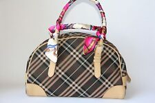 Authentic BURBERRY LONDON BLUE LABEL Nova Check Canvas Leather Brown Hand Bag
