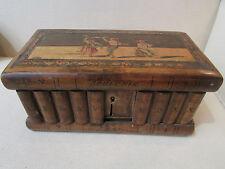 ancienne boite coffret bois faux livre souvenir naples napoli a secrets marqueté