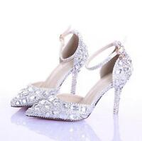 Women's Ankle Strap Wedding Crystal Pointed Toe Stiletto High Heel Pump Shoes