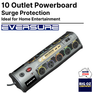 Eversure 10 Outlet Home Entertainment Powerboard   USB   COAX   SURGE PROTECTION