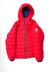 Canada Goose Boys Hooded Zip-Up Puffer Jacket Red Black Blue Size XL