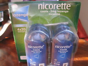 Nicorette Cools 2 mg Icy Mint Lozenges, 4 x 20 pack Quit Smoking & Stop Smoking