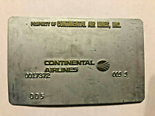 Continental Airlines Ticket Validation Plate Vintage