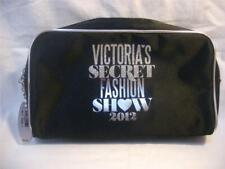 Victoria's Secret Fashion Show 2012 Black Satin Silver Metallic Make Up Bag NWT