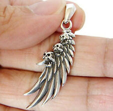 ROW SKULL ANGEL BIRD WING FEATHER STERLING 925 SILVER PENDANT