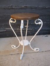 Antique,Vtg.Wrought Iron Base Oak Wood Top Garden Plant Stand/Antique Side Table