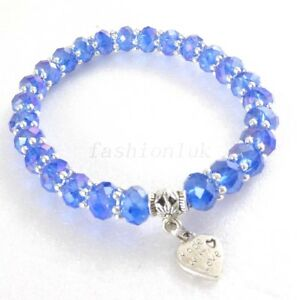 Stretch Bracelet Red Lilac Purple CUBIC Zirconia 19cm Made With Love Charm UK