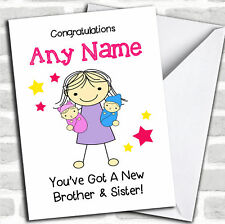 Big Sister New Baby Twin Brother & Sister Sibling Personalised Card