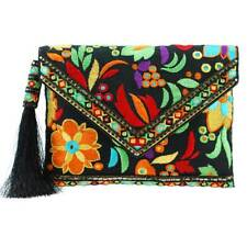 Mary Frances Beauty & The Beach Black Floral Embroidered Envelope Clutch Bag New
