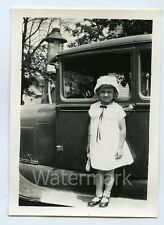 1940s  vintage photo Young Girl on car running board Gas Station Pump #2